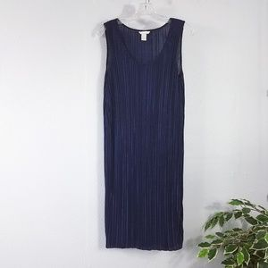 Semi Sheer Blue Ribbed Stretch Dress Cover Up